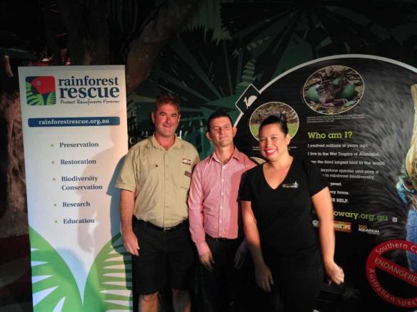 Will Meikle (Wildlife Sydney Zoo), Chris Hibbard (Zoos & Aquarium Association) and Jennifer Croes (Rainforest Rescue) Photographer: ©Geof Webb, Rainforest Rescue