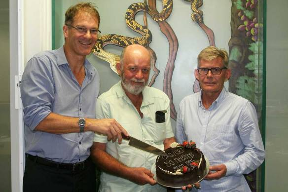 Andrew Maclean, Allen Sheather and Steve Russell celebrate 50 meetings since 1996