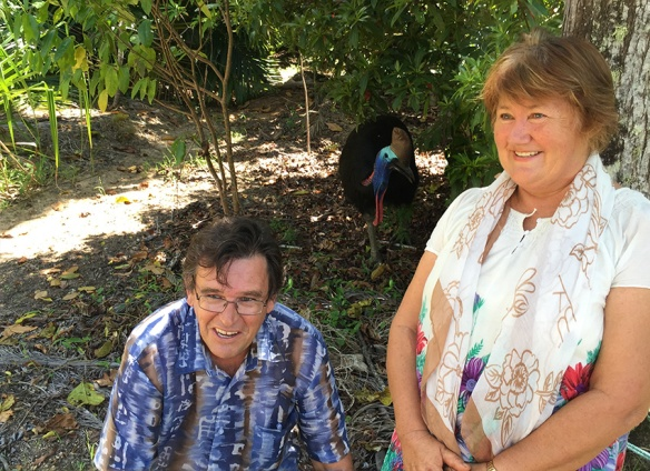 Geoff Onus and Carolyn Emms from Rainforest Reserves Australia celebrate the agreement with a local cassowary